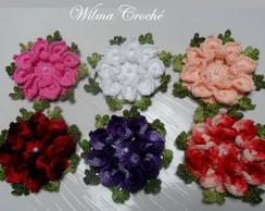 kit com 06 flores de croch� linha Anne