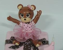Topo de bolo ursinha marrom e rosa