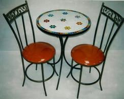 mesa mosaico 55cm 2 cadeiras c�digo 47