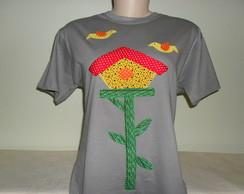 Camiseta Baby Look -Casa de passarinhos