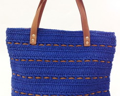 Shopping Bag de crochet e couro royal