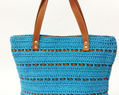 Shopping Bag de crochet e couro turquesa