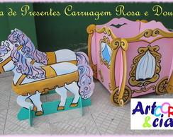 Caixa de Presentes Carruagem Rosa e Ouro