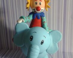 Topo de bolo Palha�o no elefante