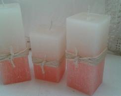 Trio de velas r�sticas quadradas