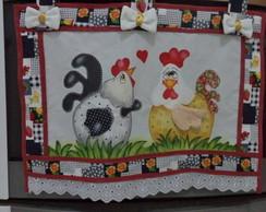 Cortina para fog�o casal de galinha