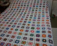 Colcha em croch� colorida