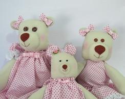 Fam�lia de ursinhas em rosa e marrom