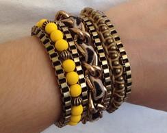Bracelete ouro velho on�a amarelo