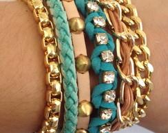 Bracelete multipulseiras cru e turquesa
