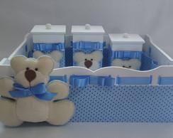 Kit Higiene Beb� Urso Azul com Po�s