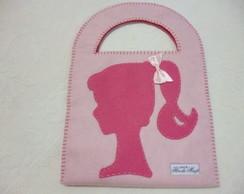 Bolsa em feltro, quadrada - Tema Barbie