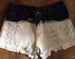 Shorts Jeans Hot Pants, Destroyed, Ombre