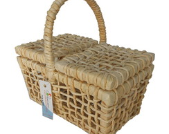 Kit 10 Mini Cestas Picnic Palha 22x14x12