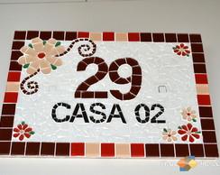 Placa Para Casa Mosaico -Vermelho|Marrom