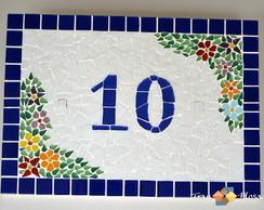 """Placa N�mero De Casa Mosaico """"Folhas"""""""