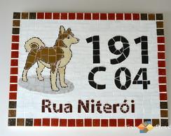 """Placa N�mero De Casa Mosaico """"Akita"""""""
