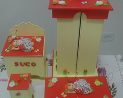 Kit MDF decorado  com 4 pe�as