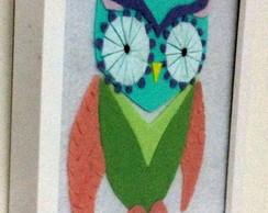 Quadro Decorativo Coruja Verde