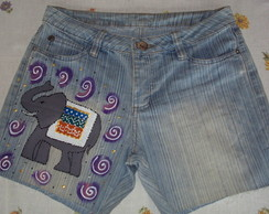 Shorts Customizado e Pintado � M�o