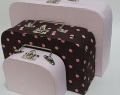 Trio de maletas Rosa e Marrom