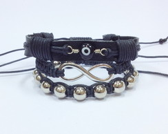 Kit pulseiras infinito e olho grego
