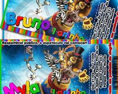 Arte Convite Ingresso Circo Madagascar