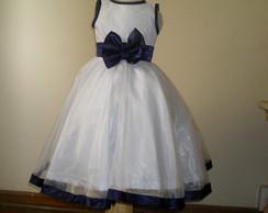 Vestido De Tricoline Com Organza