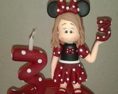 Topo de bolo Minnie com vela
