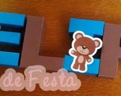 Letras 3d Urso Marrom e azul