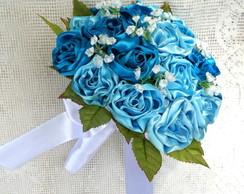 Buqu� de Noiva Cetim - 24 Bot�es Blue