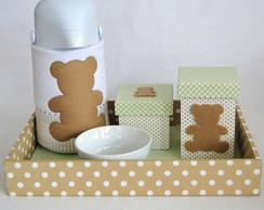 Kit de Higiene Urso verde e bege