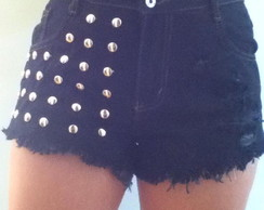 Shorts jeans Hot Pants preto tachas