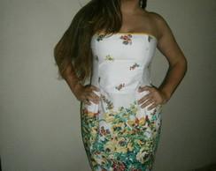 vestido curto barrado