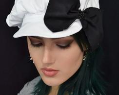 Boina  Janaina branca com la�o preto