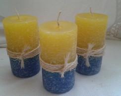 Trio de velas r�sticas cil�ndricas