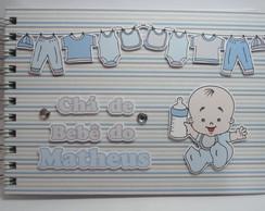 Livro para Ch� de Beb� Azul e Marrom