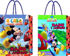 10 Sacolas Casa do Mickey Brilho M