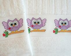 Toalhas de banho e rosto corujinha