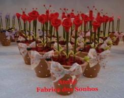 Vasinho de Flor em Bisquit  cor vermelho