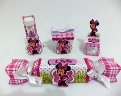 Kit Minnie Rosa 3D  personalizado
