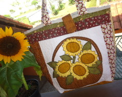 Bolsa Patchwork e aplique Girass�is