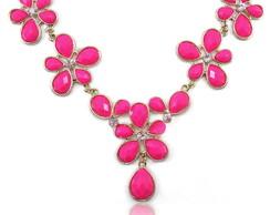 Maxi Colar Flores Pedras Neon Rosa