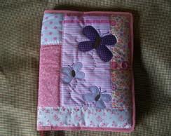 capa para caderno patchwork borboleta
