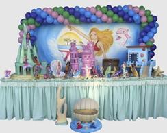Decora��o Mesa Barbie Vida de Sereia