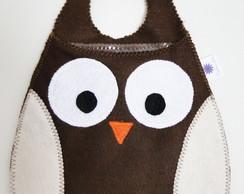 Lixinho plastificado coruja marrom -