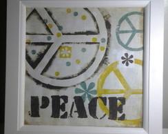 Quadro Estilizado Com Gravura Peace