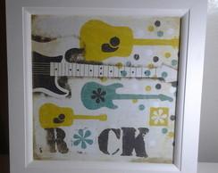 Quadro Estlilizado com gravura de Rock