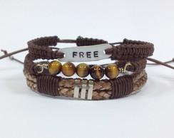 Kit de pulseiras masculinas Free