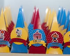 Cone Quadrado 3D Tema Circo